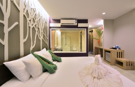 Luxury bedroom interior design for modern life style. Stock Photo