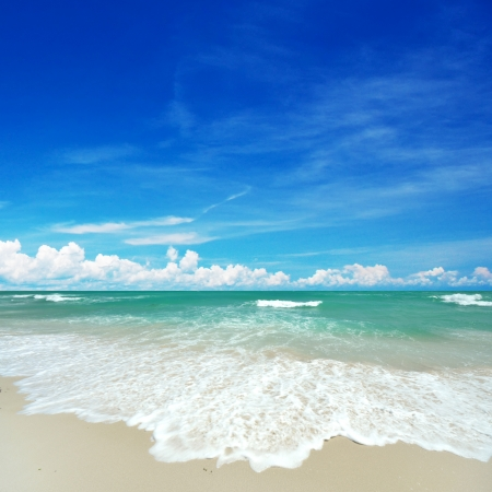 Nice clear beach in bright blue sky day. photo
