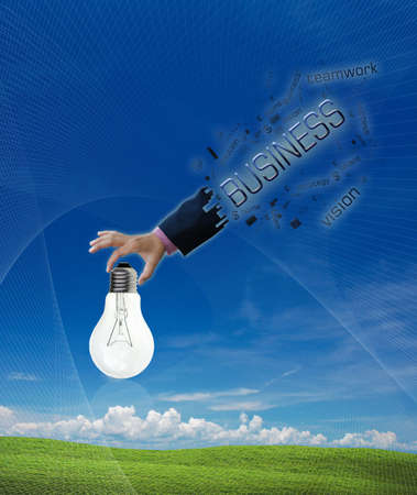art work of business hand with word on nature background. photo