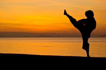 Silhouette taekwondo boy on the beach at dusk. Stock Photo