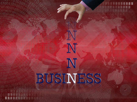 Artwork of business wording with dropping letter from business hand on abstract modern background. photo