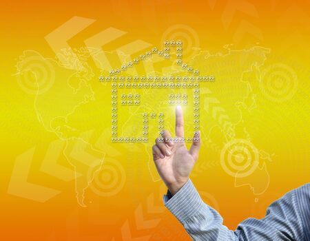 business hand selecting business icon on golden gradient background. photo