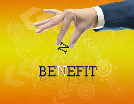 art work of business hand with the word. Stock Photo - 16290086