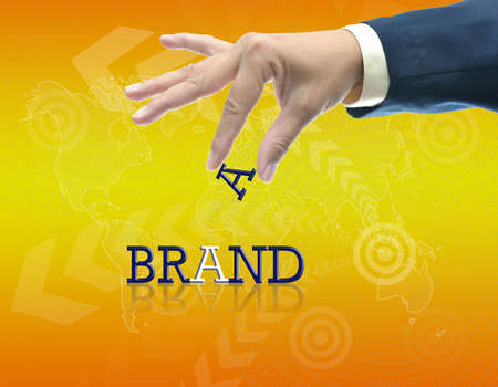 art work of business hand with the word. Stock Photo - 16290090