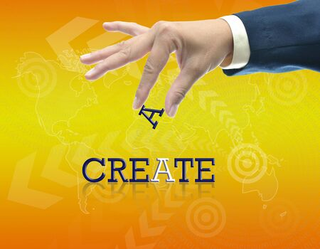 art work of business hand with the word. Stock Photo - 16290089