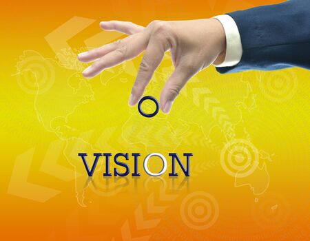 art work of business hand with the word. Stock Photo - 16290088