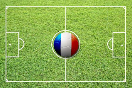 Illustration of soccer in the center of field. illustration