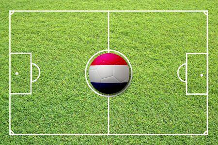 Illustration of soccer in the center of field. Stock Illustration - 16556151