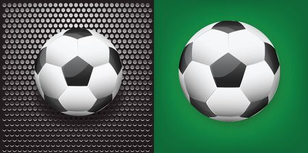 Illustration of soccer ball on metallic grilled background and green gradient background. illustration