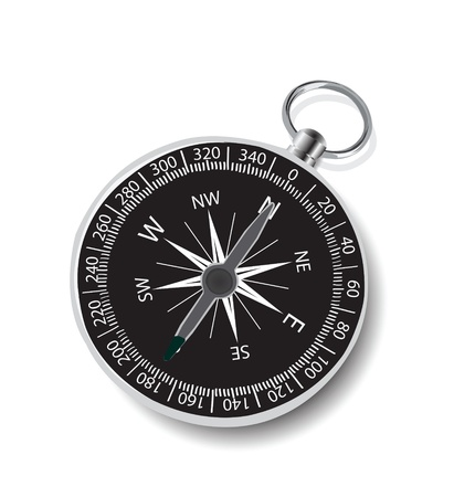 azimuth: Illustration of compass on white background. Stock Photo