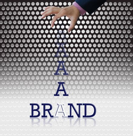 Business idea on metallic grille background. photo