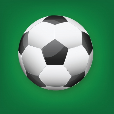 Illustration of soccer ball on green gradient background. illustration