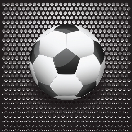 Illustration of soccer ball on metallic grilled background. illustration