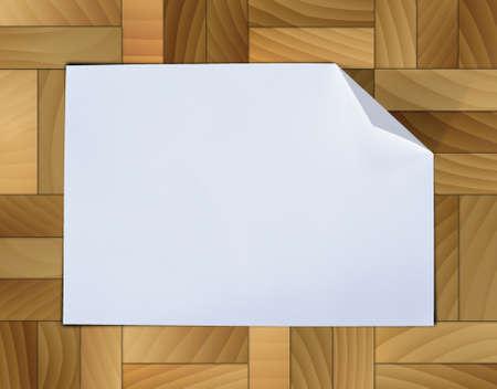 Illustration old grunge paper on wood tiles background. Stock Illustration - 16988278