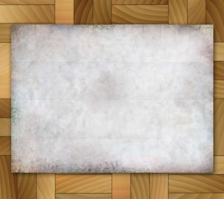 Illustration old grunge paper on wood tiles background. Stock Illustration - 16988285