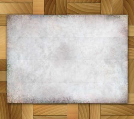 Illustration old grunge paper on wood tiles background. Stock Illustration - 16988285