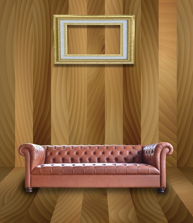 Illustration of retro sofa with frame on wood wall abstract background. illustration