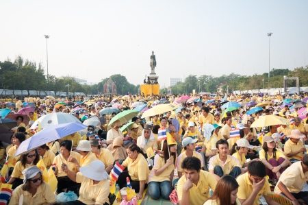 BANGKOK, THAILAND - DECEMBER 5: Almost one million of Thai poeple on Ratchadamnoen road  at H.M. the Thai King's Birthday Celebration   on Dec 5, 2012 at bangkok, Thailand. Stock Photo - 17003253