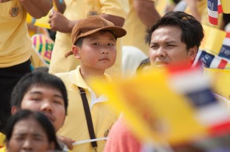 adulyadej: BANGKOK, THAILAND - DECEMBER 5: Almost one million of Thai poeple on Ratchadamnoen road  at H.M. the Thai King's Birthday Celebration   on Dec 5, 2012 at bangkok, Thailand.