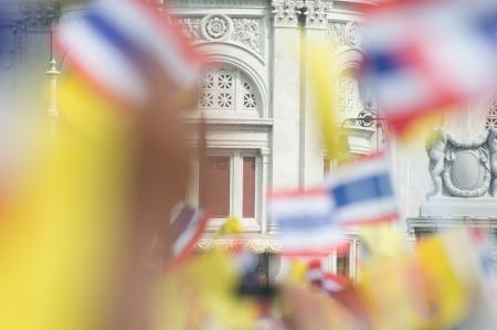 BANGKOK, THAILAND - DECEMBER 5: Almost one million of Thai poeple on Ratchadamnoen road  at H.M. the Thai King's Birthday Celebration   on Dec 5, 2012 at bangkok, Thailand. Stock Photo - 17003258