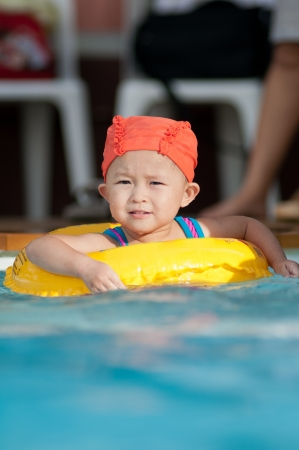 Cute small asian girl with swim suit. Stock Photo - 17165463