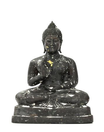 black buddha over white background. photo