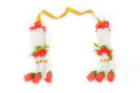 Flower garlands in thai style on white background, used offering to buddha Stock Photo - 17147811