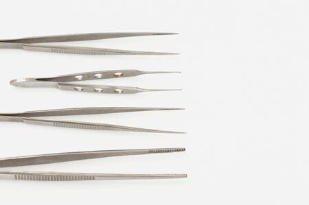 medische instrumenten: Medische instrumenten op een witte achtergrond. Stockfoto