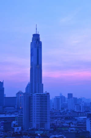 Bangkok city night view with main traffic