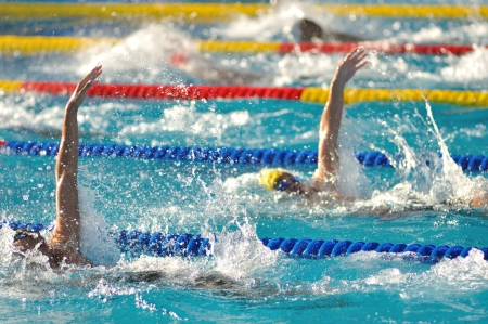 Stop action of athlete in the swimming pool.