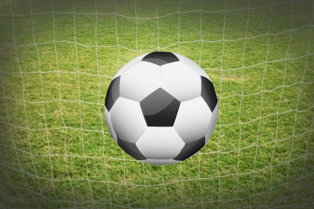 soccer ball with net background. photo