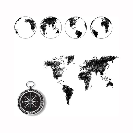 world map, globe drawing with old fashion compass. photo