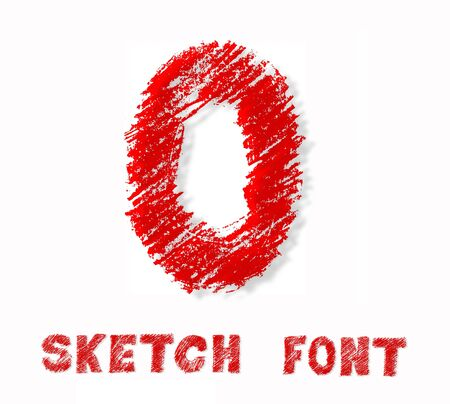 Sketch bold capital letter black font over white background. photo