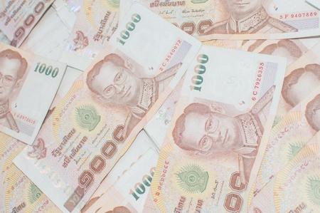 Stack of thai banknotes, one thousand bath type. Stock Photo - 18605365
