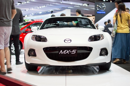 motorshow: BANGKOK, THAILAND- MARCH 31: A mazda mx5 on display at The 34th Bangkok International Motorshow 2013 at Impact on March 31, 2013 in Bangkok,Thailand