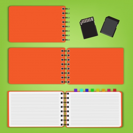 set of notepad with sd cards on green background. Vector