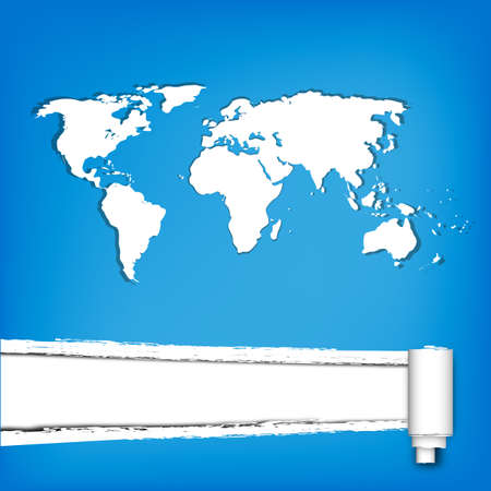 white world map on blue torn paper background. photo