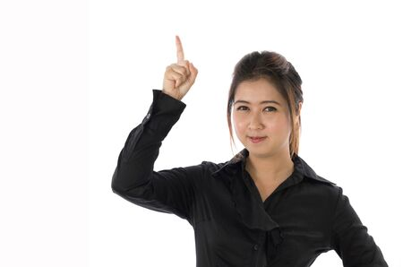 Cute asain woman in black shirt isolated on white .