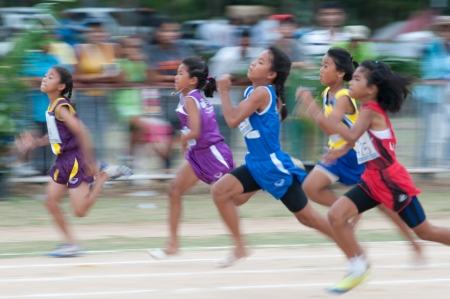 16 to 17 years old: KO SAMUI,SURAT THANI - JULY 17 : Unidentified Thai students 13 - 16 years old athletes in action during sport day on July 17, 2013 in ko samui, Surat Thani, Thailand.