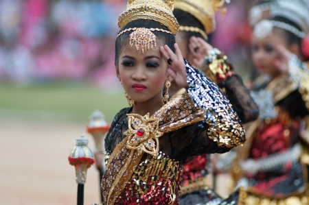 16 to 17 years old: KO SAMUI,SURAT THANI - JULY 17 : Unidentified Thai students 13 - 16 years old in ceremony uniform during sport parade on July 17, 2013 in ko samui, Surat Thani, Thailand.