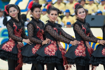 16 to 17 years old: KO SAMUI,SURAT THANI - JULY 17 : Unidentified Thai students 13 - 16 years old cheer leaders in ceremony uniform during sport parade on July 17, 2013 in ko samui, Surat Thani, Thailand.