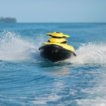 Water sport in the ocean, jet skt,