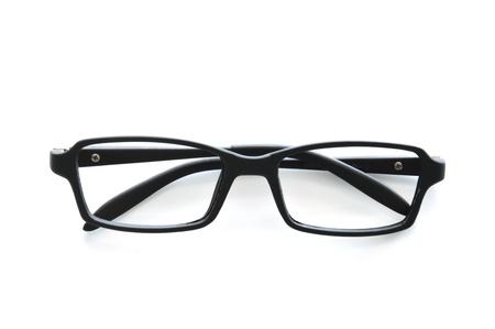 hyperopia: Occhiali isolato su sfondo bianco.
