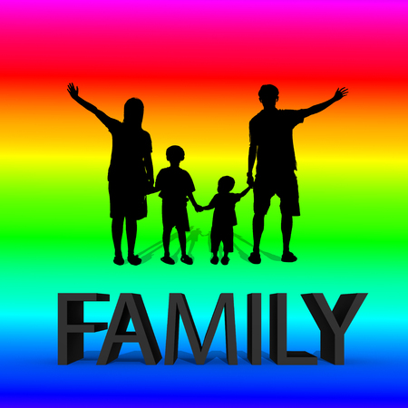 relative: silhouette of family with 3d text on colorful gradient background.