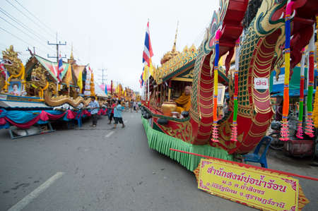 surat: SURAT THANI - OCTOBER 20: NGAN DUAN SIB Traditional of buddhist festival; Decorations of the parade on October 20, 2013 in Surat Thani, Thailand. Editorial