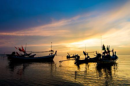 long tailed boat: Sunset seascape of ko samui thailand. Stock Photo