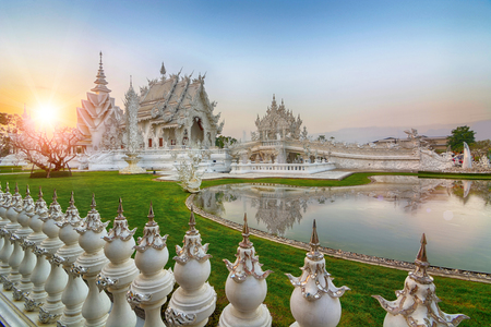 Famous Thailand temple or grand white church Call Wat Rong Khun,at Chiang Rai province, northern Thailand. Stock Photo - 24958437