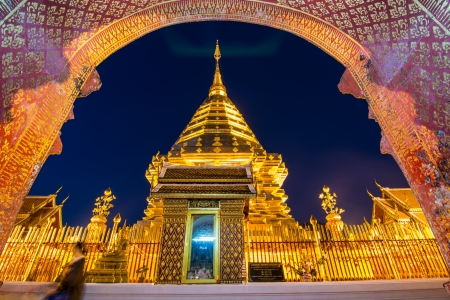 Doi Suthep temple Chiang Mai, Thailand , night view. photo
