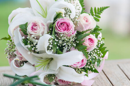 closeup of pink roses bouquet. photo