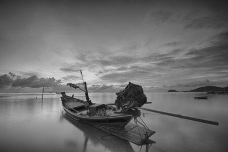 Fisherman boat at dusk, ko samui, thailand. photo